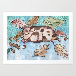 Dream Pig with Haycorns Art Print