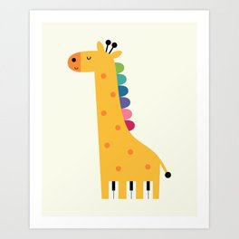 Giraffe Piano Art Print
