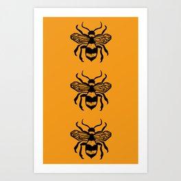 Honey Bee Block Print Art Print
