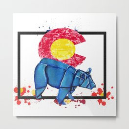 Paper Co Bear- Wild World Of Paper Series Metal Print