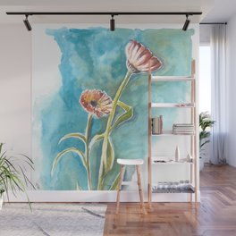Blooms on Turquoise Wall Mural