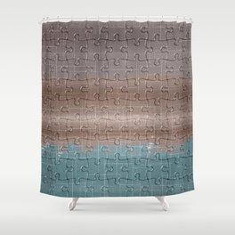 Jig-saw Puzzle Neutral Palette Design Shower Curtain
