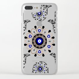 Mandala Evil Eye Hamsa Hand Clear iPhone Case
