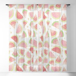 Pink & Gold Watermelon Slices Sheer Curtain