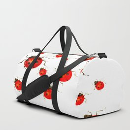 RED LADY BUGS  SWARM  ON WHITE COLOR Duffle Bag