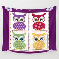 owls Wall Tapestries featuring Owls by DMiller
