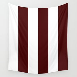 Wide Vertical Stripes - White and Bulgarian Rose Red Wall Tapestry