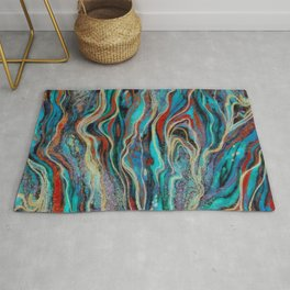 Colorful wavy abstraction Rug