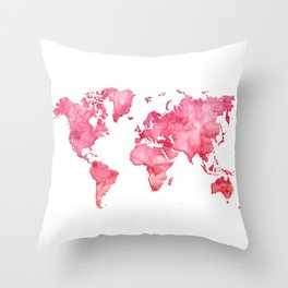 Raspberry watercolor world map Throw Pillow