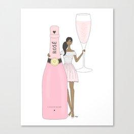 Rose Champagne Fashion Girl Dark Skin Tone (Rectangle) Canvas Print
