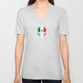 Flag of Mexico on a Chaotic Splatter Skull Unisex V-Neck