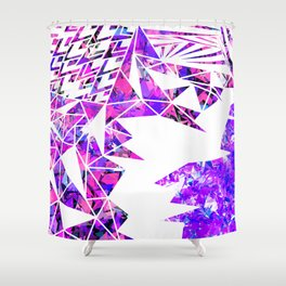 Girly Pink Violet and White Fragmented Geometric Shower Curtain