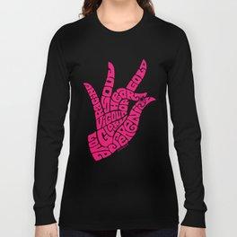 Heart Hand Bright Pink Long Sleeve T-shirt