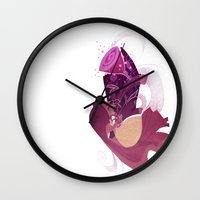 beauty and the beast Wall Clocks featuring Beauty and the Beast by Ann Marcellino