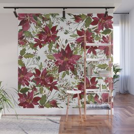 Poinsettia Flowers Wall Mural