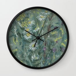 July Wildflowers, Meadow Flowers, Summer Floral, Grey Wall Clock