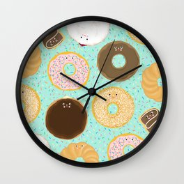 Donuts! Cute and yummy donut friends. Wall Clock