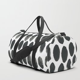 Black and White Abstract Watercolor Polka Dot Brushtrokes Painting Duffle Bag