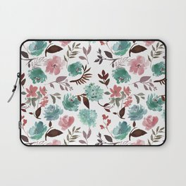 Modern coral pink teal green watercolor floral Laptop Sleeve