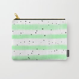 Green white black watercolor hand painted stripes splatters Carry-All Pouch