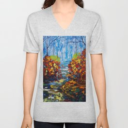 Misty Path oil painting with a Palette Knife Unisex V-Neck