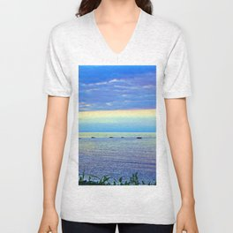 Saturated Sunset over the Circle of Rocks  Unisex V-Neck