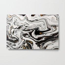 Black and Gold Liquid Paint Swirl Marble Pattern Metal Print