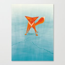 Fox on ice Canvas Print