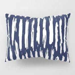 Vertical Dash White on Navy Blue Paint Stripes Pillow Sham