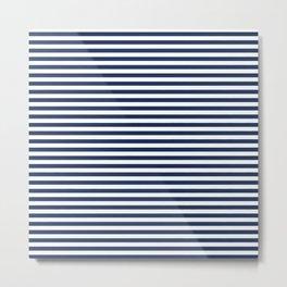 White and Navy Blue Stripe - Horizontal Stripe - Nautical Metal Print