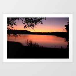 LAKE HENNESSEY - NAPA CALIFORNIA - SUNSET REFLECTION Art Print