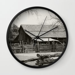 Old Barn and Rail Fence Wall Clock