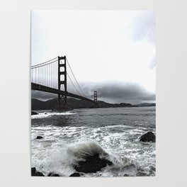 Overcast Golden Gate - B&W Poster