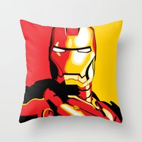 iron man Throw Pillows featuring Iron Man by C.Rhodes Design