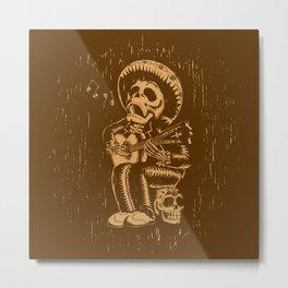 Dia De Los Muertos woodcut Metal Print