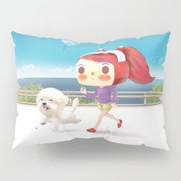 Little girl running with her dog Pillow Sham