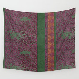 Caravans II:  Asian Print  Plum, purple green origami textile floral design Wall Tapestry