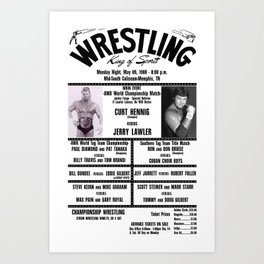 #13 Memphis Wrestling Window Card Art Print