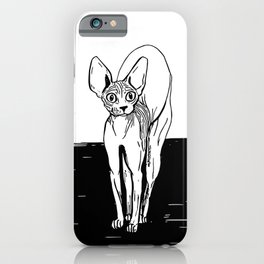 Black and White Sphynx Cat Line Drawing - Sphynx Lovers Gift - Naked Cat - Wrinkly Kitty iPhone Case