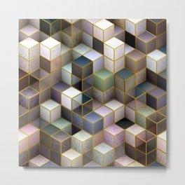 Cubes in Pastels Metal Print
