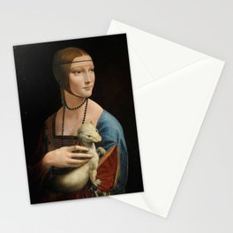 Woman with ferret - Leonardo Da Vinci Stationery Cards