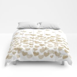 Gold Glitter Hearts - White Background for Valentines Day, Love, Bokeh, for trendy girls cell phone Comforters