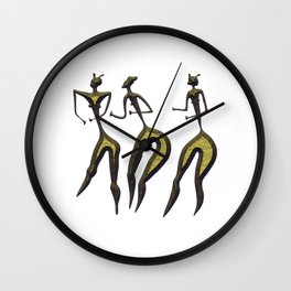 three women - primitive art Wall Clock