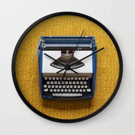 Blue and White Typewriter Wall Clock