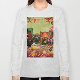 Woodland Friends at Teatime in Forest Long Sleeve T-shirt