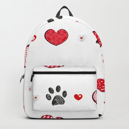 Retro heart with doodle black paw prints. Valentine's Day, Merry Christmas greeting card design element. Fabric design seamless pattern Backpack