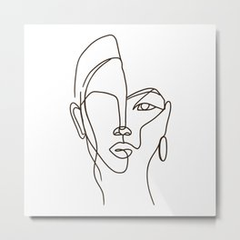 Women Face Drawn Art Lines Metal Print