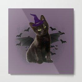 Spooky black Cat Metal Print