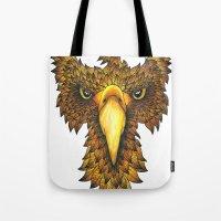 phoenix Tote Bags featuring Phoenix by J Bradford Illustration