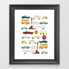 Beep Beep! Cars and Trucks Traffic Pattern Framed Art Print